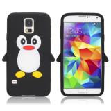 Husa silicon model pinguin Samsung Galaxy S5 G900 i9600 + folie protectie ecran, Albastru