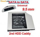 Cumpara ieftin Hard disk HDD caddy adaptor de la unitate optica la hardisk SATA cu conectare la laptop SATA grosime 9.5 mm 2nd caddy CD-ROM DVD-RW adaptor SSD