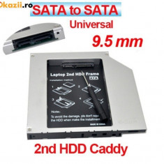 Hard disk HDD caddy adaptor de la unitate optica la hardisk SATA cu conectare la laptop SATA grosime 9.5 mm 2nd caddy CD-ROM DVD-RW adaptor SSD