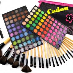 Trusa machiaj 120 culori mate Fraulein38 + Set 24 pensule + Eyeliner + CADOU - Trusa make up