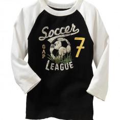 Nou! Bluza fotbal, marca GAP, baieti 12-18 luni, Culoare: Negru