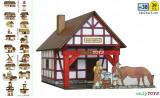 Set constructie casute traditionale din lemn FIERARIE POTCOVARIE case walachia