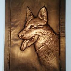 Tablou in relief pe foita de cupru - caine ciobanesc german - Arta din Metal