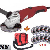 019802-Flex 125 mm, 800 W + Geanta de scule + 10 discuri Raider Power Tools - Polizor