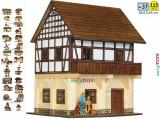Set constructie casa casuta casute din lemn GRANAR cu traverse case walachia log