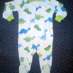 Pijama micropolar dinozauri, marca CARTERS, baieti 18 luni, Culoare: Alb