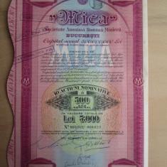 1938 Societatea Miniera Mica Bucuresti 5000 lei Actiune veche actiuni vechi