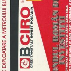 Cartela metrou / reclama CIRO FRI / metrorex (1996) - Cartela telefonica romaneasca