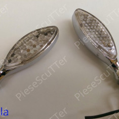 Set Semnale / semnal / semnalizari moto scuter LED ( nichel ) - Semnalizare Moto