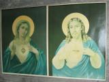 Cumpara ieftin Pereche de litografii icoane vechi Isus si Sfanta Maria, icoana veche lot 2 buc.