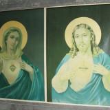 Pereche de litografii icoane vechi Isus si Sfanta Maria, icoana veche lot 2 buc. - Litografie