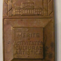 "MMM- Placheta ""Merite in Activitatea Cultural Artistica"" bronz 4,50 cm x 8 cm"