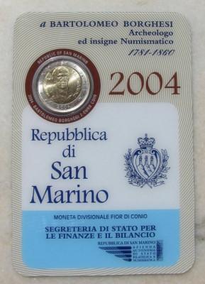 2 euro comemorativ 2004 San Marino Bartolomeo Borgesi UNC - FDC foto