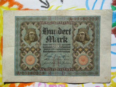 100 mark 1920 Germania ,marci germane / seria 13180223 foto
