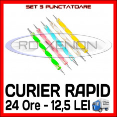 SET DE 5 PUNCTATOARE - PUNCTATOR MANICHIURA UNGHII FALSE GEL UV, FRENCH