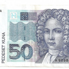 CROATIA 50 KUNA 1993 VF - bancnota europa