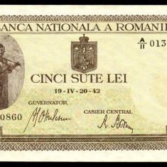 500 LEI 20 aprilie 1942 UNC necirculata - Bancnota romaneasca