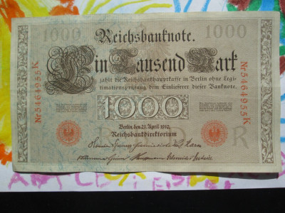 1000 mark 1910 Germania , 1000 marci germane 1910 litera R stampila rosie foto