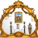 OGLINDA DIN CRISTAL CU O RAMA AURIE CU DIVERSE DECORATIUNI, Consola