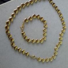 SET SUPERB TRIFARI, SEMNAT, ORIGINAL, GOLD PLATED -CADOU DEOSEBIT - Set bijuterii handmade si fashion