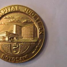 "MMM - Medalie Romania ""Noul Spital Judetean Botosani 1981"" aluminiu aurit 32 g"