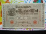 1000 mark 1910 Germania , 1000 marci germane 1910 litera T stampila rosie