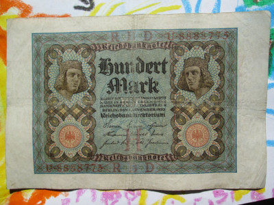 100 Mark 1920 Germania / marci germane / seria 8888775 foto