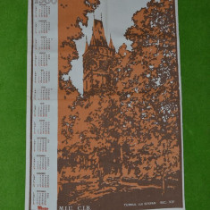 Calendar perete, material textil 1986 Turnul Stefan, Baia Mare, Maratex, 58x40 - Calendar colectie