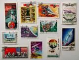 Lot minicolectie 11 timbre straine cu tematica aviatie si cosmos **, Stampilat