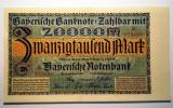 19. GERMANIA BAVARIA 20000 20.000 MARK MARCI MUNCHEN 1.3.1923 XF/AUNC SR. 489