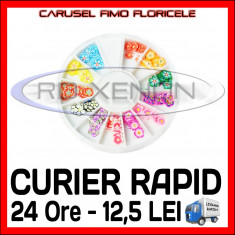 SET CARUSEL FIMO - MODEL CU FLORI - DECORATIUNI UNGHII NAIL ART