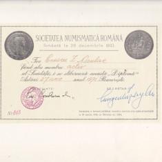 Bnk div - Lot 4 diplome expozitii numismatice