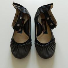 Balerini, pantofiori pentru fetite, piele, marimea 25-26, cu talonet - Balerini copii, Marime: 25.5, Culoare: Negru, Fete, Piele naturala