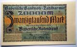 18. GERMANIA BAVARIA 20000 20.000 MARK MARCI MUNCHEN 1.3.1923 XF/AUNC SR. 461