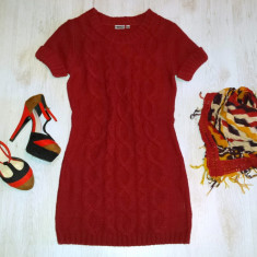 Rochie tricotata visiniu / marimea S - 36/38. - Rochie tricotate, Culoare: Din imagine