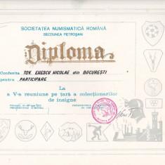 Bnk div - Lot 2 diplome expozitii numismatice - Expozitii insigne Petrosani