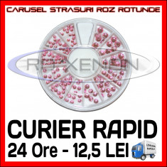SET CARUSEL STRASURI - MODELE ROZ ROTUNDE - DECORATIUNI UNGHII MANICHIURA GEL UV - Unghii modele Sina