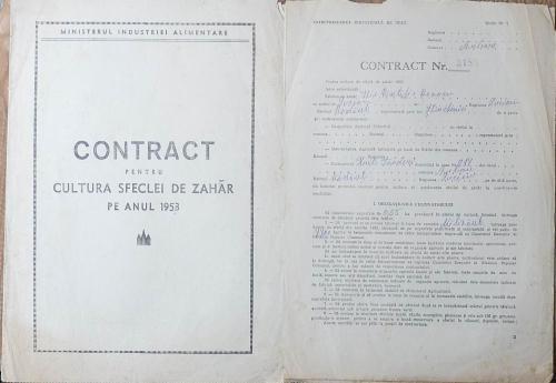 Contract pentru cultura sfeclei de zahar pe anul 1953
