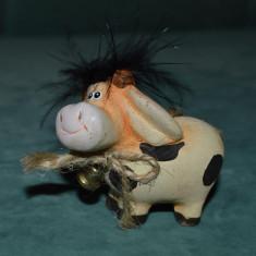 Figurina vacuta, vaca, din lut/ceramica, colectie, decor, 5cm - Miniatura Figurina