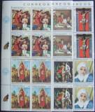 PARAGUAY - PICTURA RELIGIOASA, 6 VALORI IN BLOC, NEOBLITERATE - PG 005