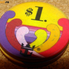 JETON CASINO MAJESTY OF THE SEAS ( Vapor Croaziera ) - 1 DOLAR ( Original ) - Poker chips, 1 $