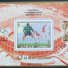 AJMAN 1968 - FOTBAL  1 S/S DANTELATA, NEOBLITERATA - AJ 080, Sport