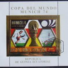 GUINEEA EQ 1974 - FOTBAL MUNCHEN ,1 S/S , OBLIT CU FOLIE AUR - GEQS 010