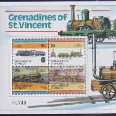 GRENADINES OF ST. VINCENT - LOCOMOTIVE, 4 VALORI IN M/SH, NEOBLIT - E2049