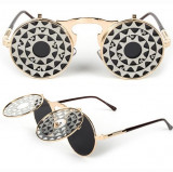 Ochelari Rotunzi Flip-Flop - model STEAMPUNK/GOTHIC - protectie UV400 - Unisex, Protectie UV 100%