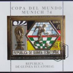 GUINEEA EQ 1974 - FOTBAL MUNCHEN, 1 S/S, OBLIT CU FOLIE AUR - GEQS 009