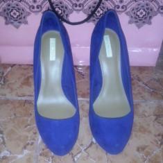 Pantofi Bershka - Pantof dama, Culoare: Albastru, Marime: 38, Cu toc