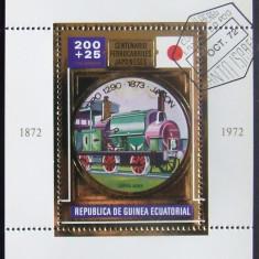 GUINEEA EQ 1972 - CAILE FERATE JAPONEZE ,1 S/S , OBLIT CU FOLIE AUR - GEQS 023