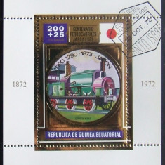 GUINEEA EQ 1972 - CAILE FERATE JAPONEZE, 1 S/S, OBLIT CU FOLIE AUR - GEQS 023