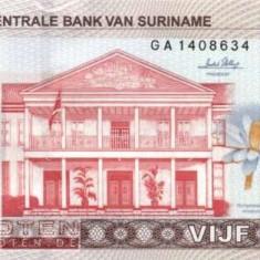 SURINAME 5 $ / 2010. UNC - bancnota america